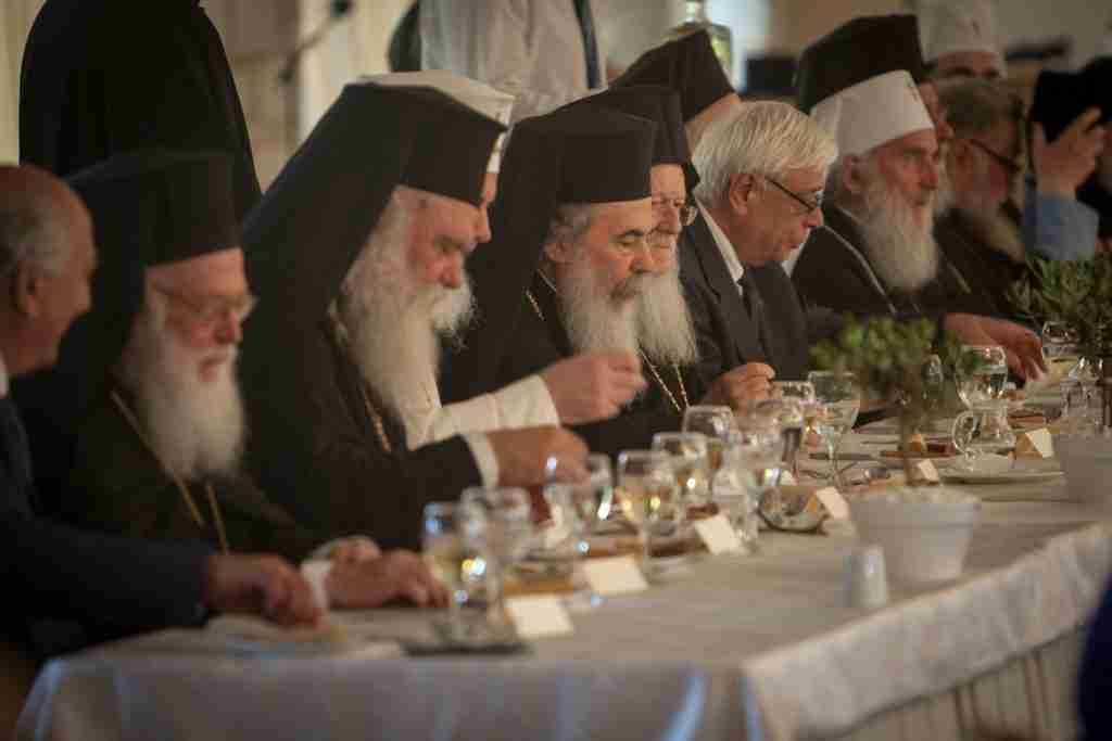 Prokopis Paviopoulos, President of the Hellenic Republic at an official luncheon in Heraklion with the Orthodox Primates who are in Crete for the Holy and Great Council.